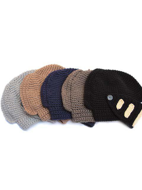 Bonnet en Maille avec Boutons et Rayures Décoratifs pour Homme - couleur aléatoire  Mobile