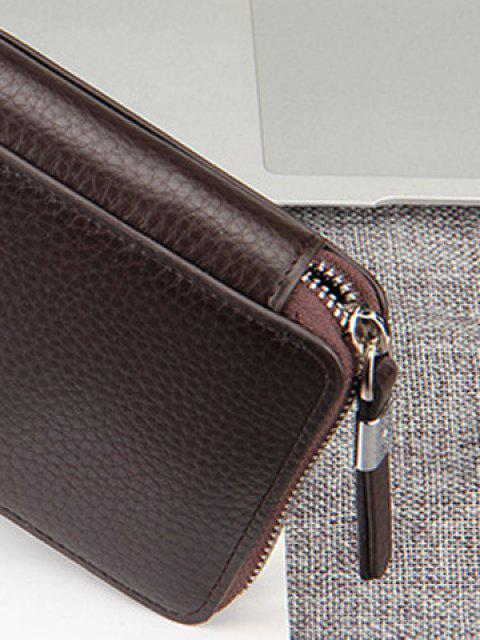 outfit Casual Lichee Pattern and PU Leather Design Men's Clutch Bag - COFFEE  Mobile