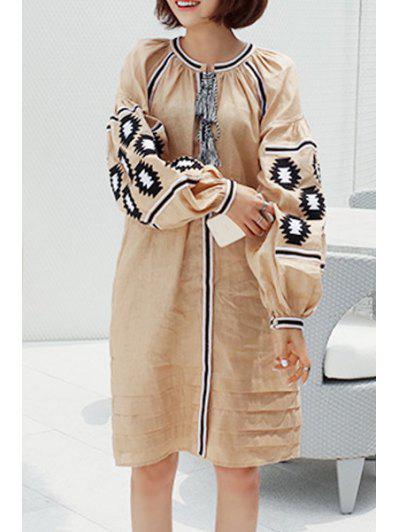 9d89614bec32 Lantern Sleeve Embroidered Loose Fit Dress - Light Brown