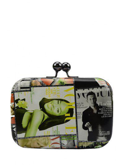 Print Color Matching Kiss Lock Evening Bag - Green