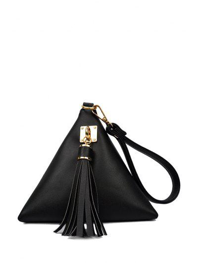 Solid Color Triangle Shape Tassel Clutch Bag - Black