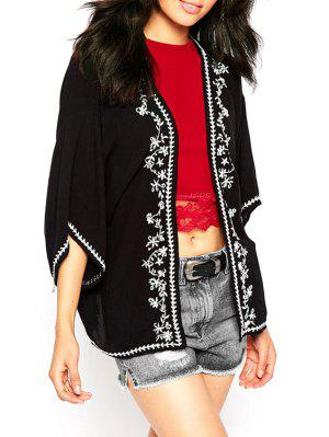 Retro Embroidery Batwing Sleeve Cape Blouse - Black S