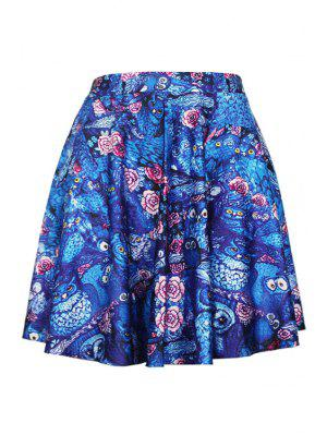 Digital Print Pleated Ball Gown Skirt - Blue