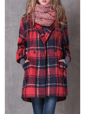 Checked Turn-Down Collar Wool Coat - Red L