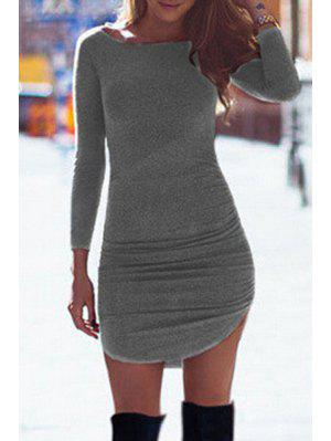 Pure Color Boat Neck Bodycon Dress - Deep Gray L
