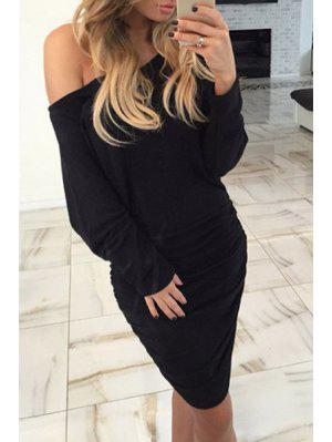 Ruched One-Shoulder Long Sleeve Bodycon Dress - Black Xl