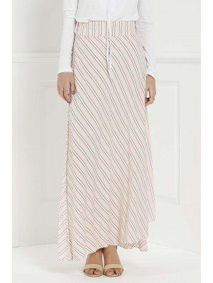 Striped Pink High Waisted Skirt - Pink Xl
