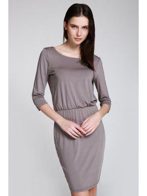Open Back 3/4 Sleeve Bodycon Dress - Gray M