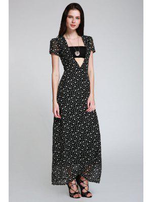 Maxi Vestido Con Escote Pico Con Estampado Lleno De Estralla - Negro S
