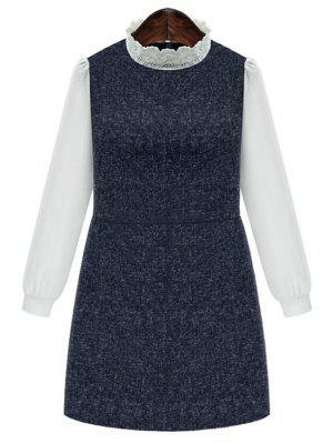 Chiffon Spliced Stand Collar Long Sleeve Dress - Deep Blue 3xl