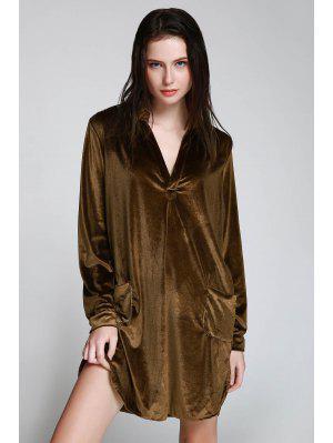 Cozy Velvet Long Sleeve Shirt Dress - Brown S