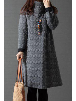 Turtleneck A-Line Thermal Dress - Gray Xl