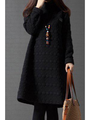 Vestido Térmico En A Línea Con Cuello Tortuga - Negro M