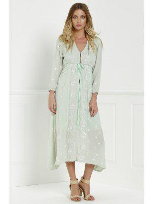 Midi Floral Embroidered Dress - Sage Green S