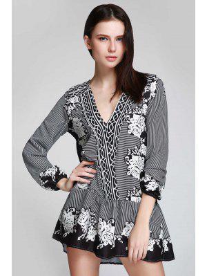 V Neck Striped Floral Flare Dress - Black M