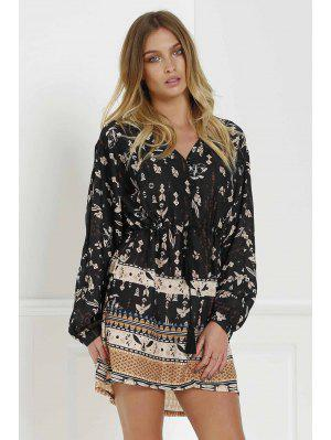 Retro Print V Neck Long Sleeves Dress - Black M