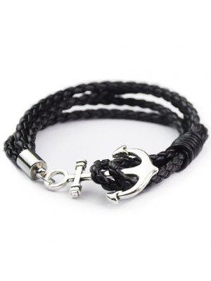 Anchor Faux cuir en couches Bracelet