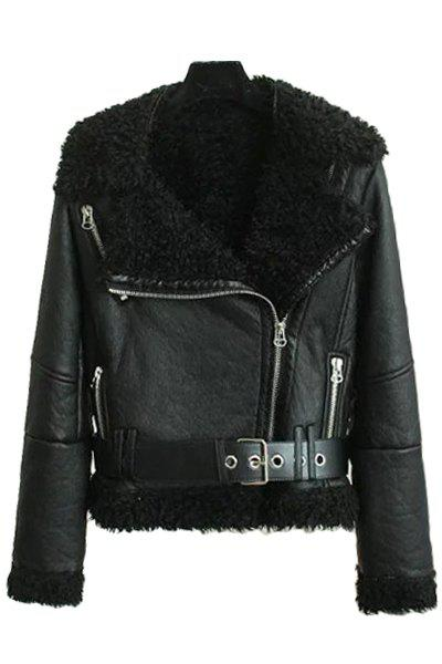 PU Leather Long Sleeve Fur Collar Jacket 162716203