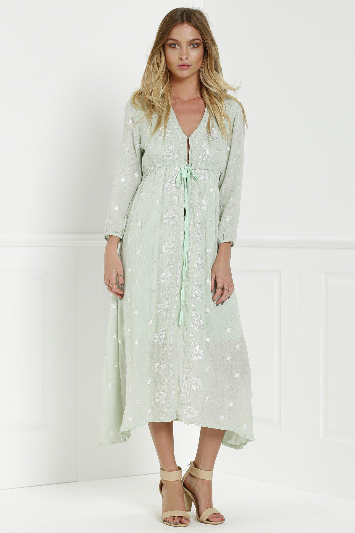 Midi Floral Embroidered Dress