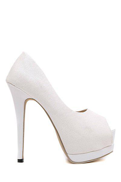 Sequined Cloth Platform Peep Toe Shoes 165415410