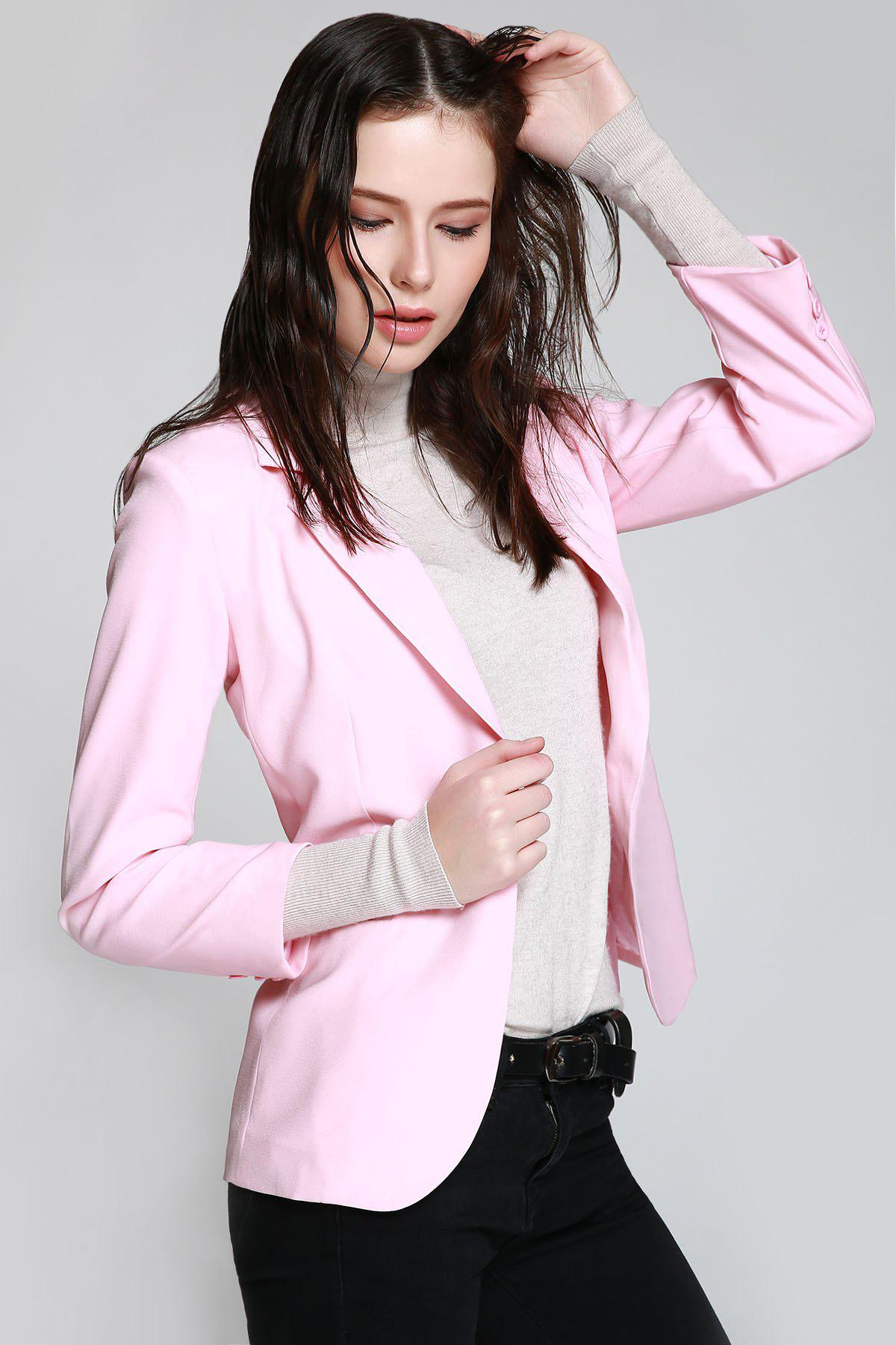 Lapel One Button Pink Blazer