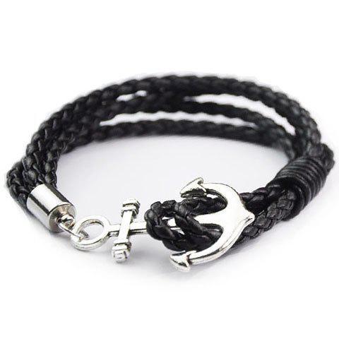 Anchor Faux cuir en couches Bracelet