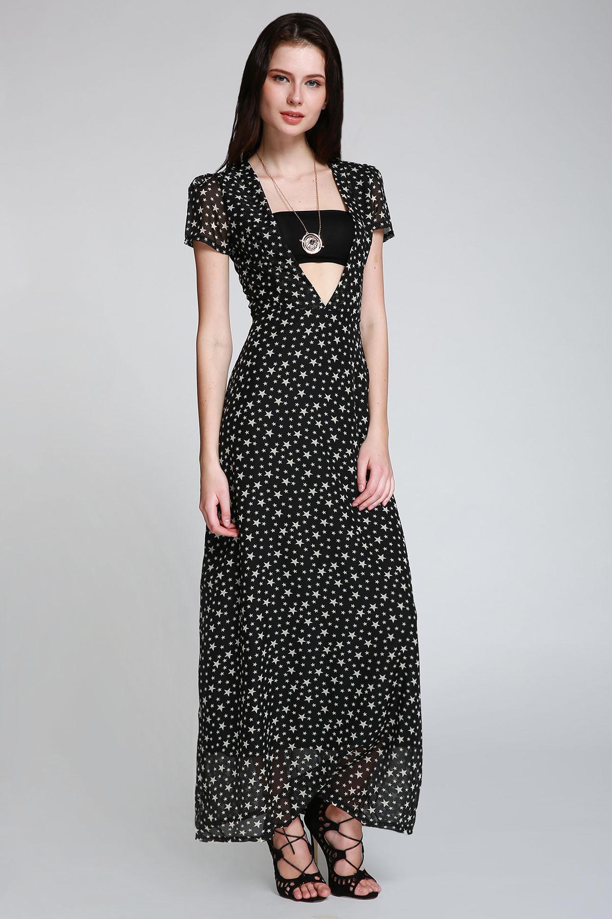 Full Star Print Maxi Plunge Dress