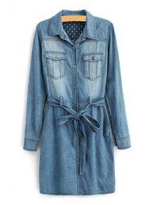 Long Sleeve Self-Tie Belt Denim Dress - Deep Blue 2xl