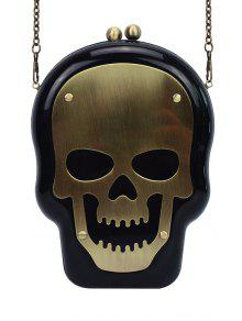 Buy Skull Shape Kiss Lock Chains Evening Bag - BLACK