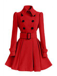 Solid Color Belted Turn-Down Collar Wool Dress Coat - Red L