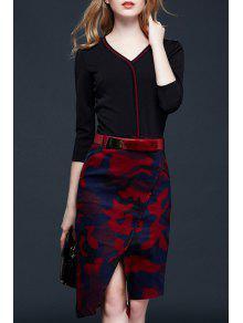 Buy Spliced Front Slit V-Neck Printed Belted Dress - COLORMIX M