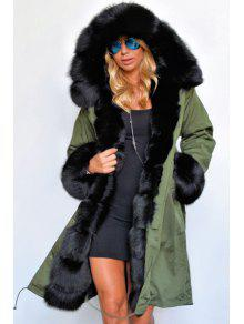 Hooded Faux Fur Trim Parka Coat GREEN: Jackets & Coats 2XL | ZAFUL
