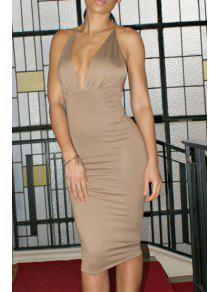 Backless Plunging Neck Solid Color Spaghetti Strap Dress - Light Gray M