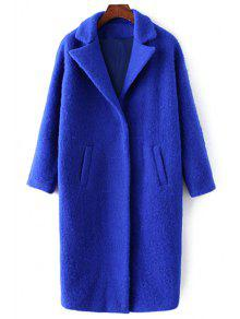 Pockets Pure Color Lapel Collar Wool Coat - Sapphire Blue M