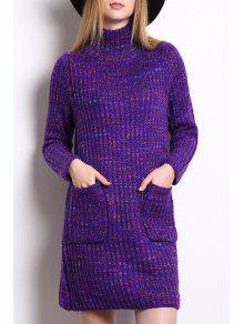 Turtle Neck Multicolored Sweater Dress Purple