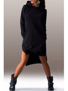 High Low Hooded Long Sleeve Dress - Black M
