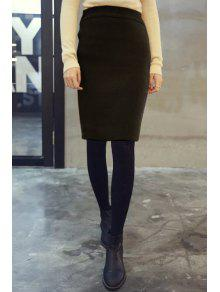 Buy Pure Color High Waisted Knit Bodycon Skirt - BLACK ONE SIZE(FIT SIZE XS TO M)