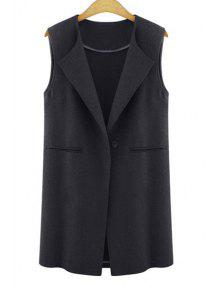 One Button Solid Color Wool Waistcoat - Black 3xl