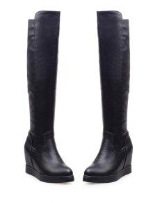 439ea2735fa7 41% OFF] 2019 Hidden Wedge Solid Color Knee-High Boots In BLACK | ZAFUL
