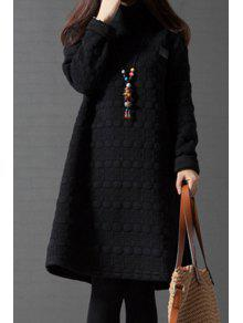 Buy Turtleneck A-Line Thermal Dress - BLACK M