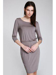Open Back 3/4 Sleeve Bodycon Dress - Gray M