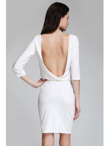 Open Back 3/4 Sleeve Bodycon Dress - White M