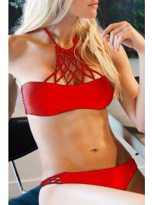 Buy Solid Color Halter Mesh Bikini Set - RED S