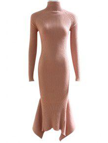 Lace Up Cut Out Solid Color Mermaid Dress - Shallow Pink M
