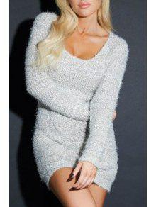 ccfc9311991 28% OFF  2019 Pure Color Long Sleeve Bodycon Sweater Dress In LIGHT ...