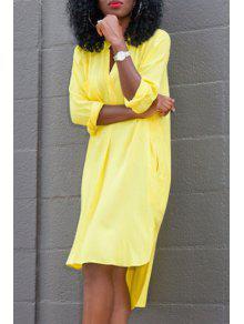 Side Slit Solid Color High Low Hem Dress - Yellow L