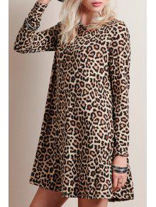 Leopard Print Round Collar Long Sleeve Dress - Leopard M