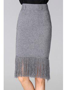 Buy Tassels Spliced High Waisted Slimming Pencil Skirt - GRAY ONE SIZE(FIT SIZE XS TO M)