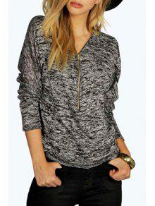 Zipper V Neck Long Sleeve T-Shirt - Black Xl