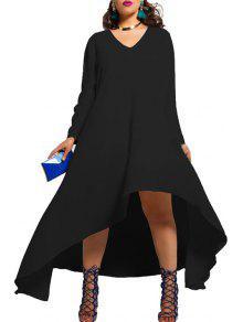 Solid Color V Neck Long Sleeve LooseDress - Black Xl